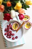 Chia pudding with fresh raspberries passion fruit