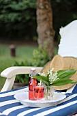 Selbstgemachte Erdbeerlimonade auf Tablett abgestellt auf Liegestuhl im Garten