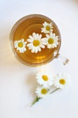 Camomile tea in a glass cup (seen from above)