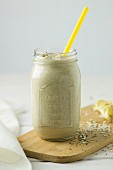 Banana smoothie with oats and chia seeds