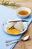 Panna cotta with a rosemary and orange sauce