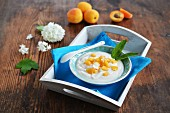 Yoghurt with apricots and mint