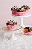 Lamington cupcakes on a cake stand