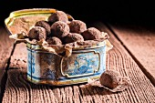 Pralines in an old metal tin