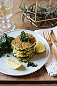 Zuccini and green cabbage pancakes, stacked