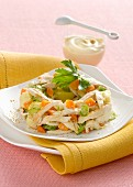 Chicken salad with carrots and celery