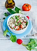 Pearl barley salad with tomatoes and radishes