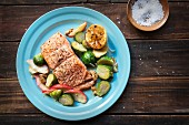 Fried salmon with a Brussels sprouts and apple medley