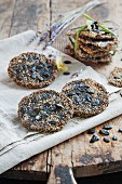 Crispbread made from primaeval grains with pumpkin seeds