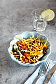 Courgette linguine with vegetables