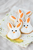 Easter bunny biscuits on a doily