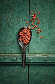 Goji berries on a spoon on a rustic surface