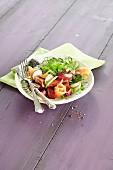 Rhubarb salad with smoked salmon