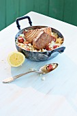 Risotto with rhubarb and tuna fish steaks