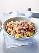White bean salad with egg and a tahini dressing