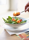 Prawn ragout with pea pods