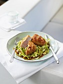 Pork fillet in a miso sauce with pointed cabbage