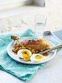 Chicken legs with Jerusalem artichokes and boiled eggs