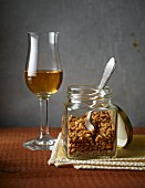 Toasted oats with a glass of Sasse Roggenkorn liqueur
