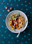 Bulgur with oven roasted vegetables (beetroot, coriander-pumpkin and anis-potatoes) and yoghurt (Arabia)