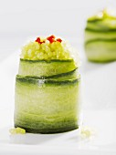 Courgette roles garnished with green vegetarian seaweed caviar
