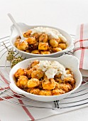 Gratinated gnocchi with ricotta and Pecorino cheese