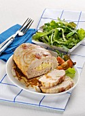 Turkey meat loaf with a green salad