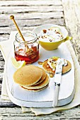 Pancakes with nut and lemon cream cheese and honey