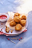 Prawn croquettes with a dip
