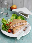 Creamy smoked salmon sandwich