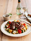 Quick fried lamb with courgette and peppers
