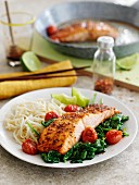 Honey and mustard salmon with spinach and roasted cherry tomatoes