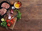 Gammon steaks, corn salsa, onions and tomatoes