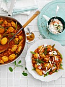 Mild chicken curry with potatoes and vegetables