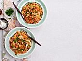 Pilau rice with cauliflower and peas