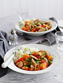 Quick vegetable and sausage stew with mashed potatoes
