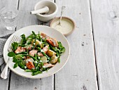 Salmon salad with new potatoes and green beans