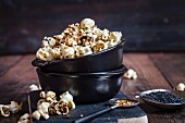 Salty popcorn with furikake (Japanese spice) and sesame seeds