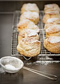 Freshly baked scones dusted with icing sugar on a cooling rack