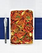 Chicken with pepper, peri-peri sauce and gremolata