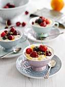 Semolina pudding with berries and cherries