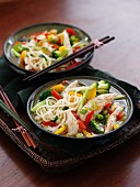 Noodles with steamed chicken and vegetables (Asia)