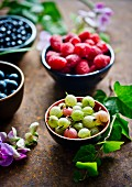 Fresh gooseberries, blueberries and raspberries in bowls