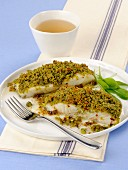 Baccalao al pistacchio (stock fish with a pistachio nut crust, Italy)