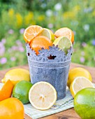 Citrus fruits in a vintage metal pot on a garden table