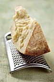 Hard goat's cheese on a grater