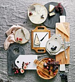 Stillleben mit verschiedenen Käsesorten und Früchten auf Stein- und Holzbrettchen