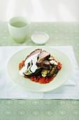 Lamb, Eggplant & Zucchini Stack