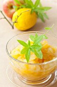 Apple and lemon compote with lemon balm