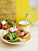 Baked sweet potatoes with chilli mince